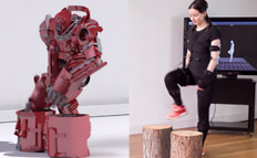 Woman recording motion capture animation with live and rendered results shown side by side
