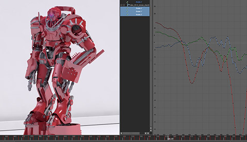 Screen shot of our motion capture animation driving a 3d character in Maya